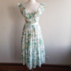 1970s Unlabeled Floral, Poly Cotton Sun Dress